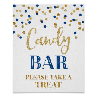 Candy Bar Wedding Sign Gold Navy Blue Confetti Poster