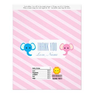 Candy Bar Wrapper Favor - cute two elephants Flyer