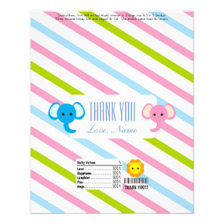 Candy Bar Wrapper Favor - cute two elephants Personalized Flyer