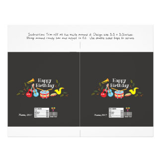 candy bar wrapper happy birthday kids music party