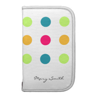Candy Blue Polka Dot Custom Name White Organizer