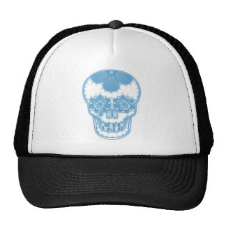 candy blue skull mesh hat