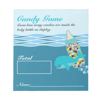 Candy Bottle Guessing Game, M&M, Whale Baby Shower Notepad