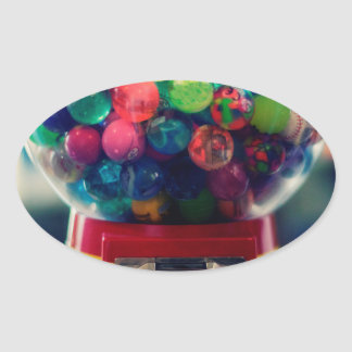 Candy bubblegum toy machine retro oval sticker