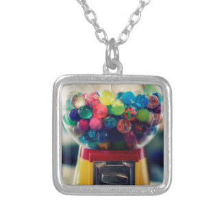 Candy bubblegum toy machine retro silver plated necklace
