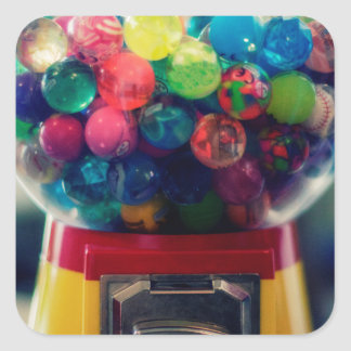 Candy bubblegum toy machine retro square sticker