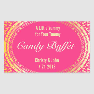 Candy Buffet Stickers in Gold and Pink