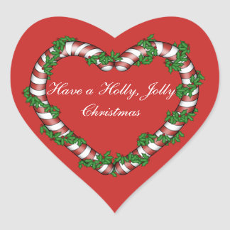 Candy Cane and Holly Heart Stickers