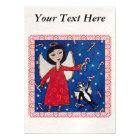 Candy Cane Angel Cat Christmas Folk Art Magnetic Card