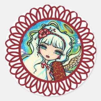 Candy Cane Angel Christmas Art by Hannah Lynn Round Sticker