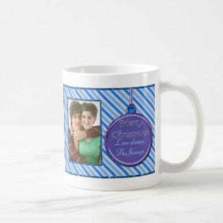 Candy Cane Blue Christmas Ornament Coffee Mug