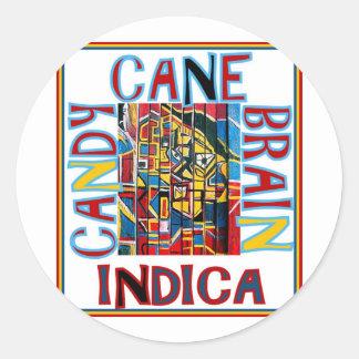 CANDY CANE BRAIN INDICA CLASSIC ROUND STICKER