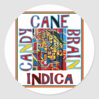 CANDY CANE BRAIN INDICA ROUND STICKER