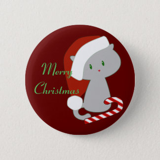 Candy Cane Cat Button
