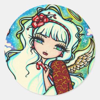 Candy Cane Christmas Angel by Hannah Lynn Classic Round Sticker