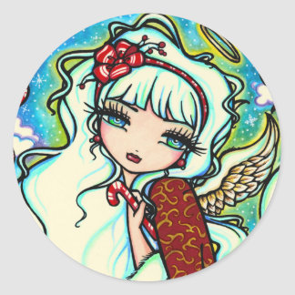 Candy Cane Christmas Angel by Hannah Lynn Round Sticker
