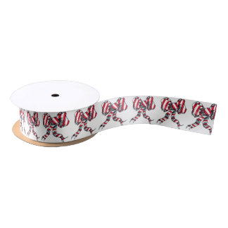 Candy Cane Christmas Bow Ribbon Satin Ribbon