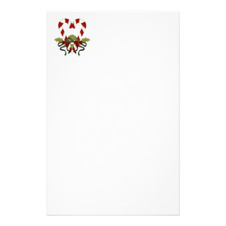 Candy Cane Christmas Heart Stationery