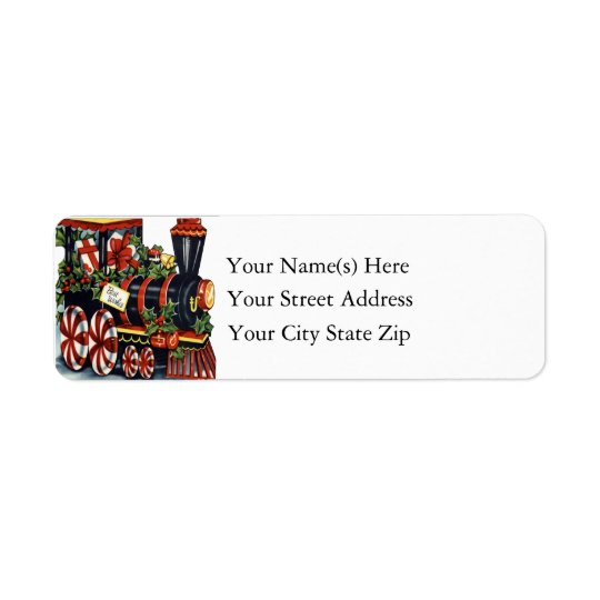 Candy Cane Christmas Train Vintage Christmas Return Address Label