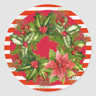 Candy Cane Christmas Wreath Sticker