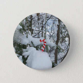 Candy Cane Decoration 2 Inch Round Button
