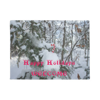 Candy Cane Decoration on Snow Covered Tree Doormat