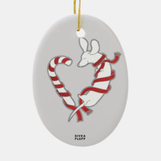 Candy Cane Doxie Ceramic Oval Ornament