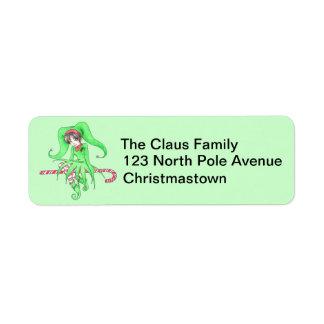 Candy Cane Elf Address Labels