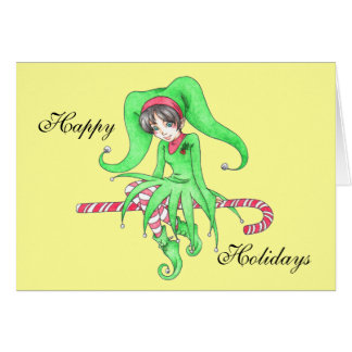 Candy Cane Elf Greeting Card