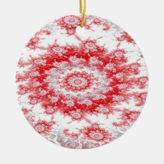 Candy Cane Flower Swirl Fractal Ceramic Ornament