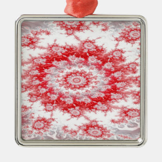 Candy Cane Flower Swirl Fractal Metal Ornament