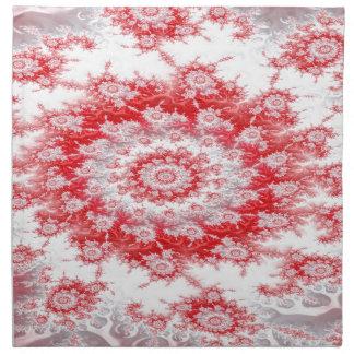 Candy Cane Flower Swirl Fractal Napkin