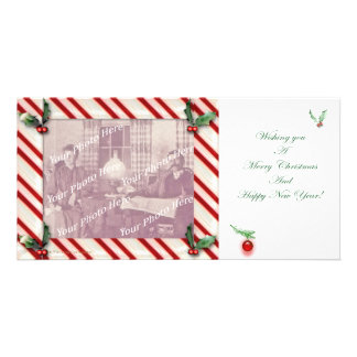 Candy Cane Frame Christmas Photocard Photo Card