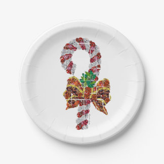 Candy Cane Gems 7 Inch Paper Plate