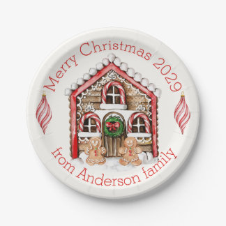 Candy cane, gingerbread man, baubles Christmas Paper Plate