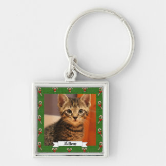 Candy Cane Green Frame Customizable Kitty Keychain