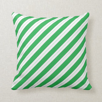 Candy Cane Green Stripes Throw Pillow