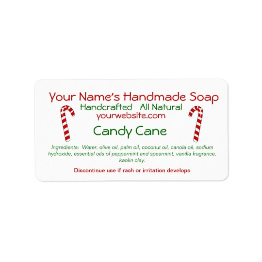 Candy Cane Handmade Christmas Soap Labels Template