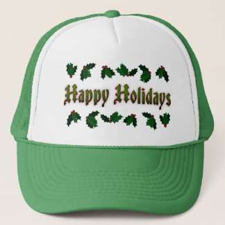 Candy Cane Happy Holidays Green Trucker Hat