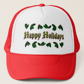 Candy Cane Happy Holidays Red Trucker Hat