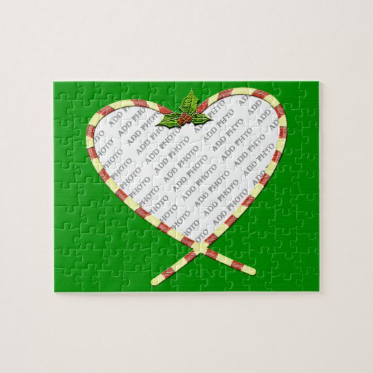 Candy Cane Heart Add Your Photo Frame Jigsaw Puzzle