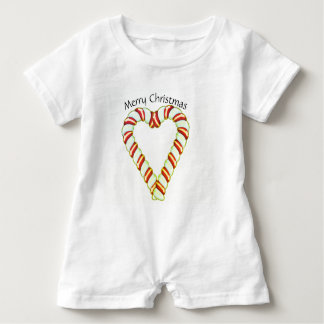 Candy Cane Heart Baby Romper