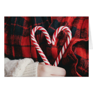 Candy Cane Heart Christmas Card