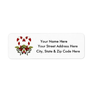 Candy Cane Heart Christmas Return Address Labels