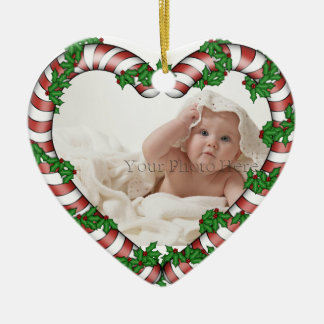 Candy Cane Heart Photo Ornament