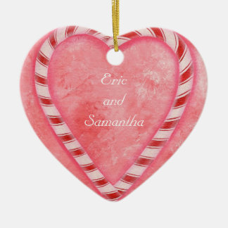 Candy Cane Heart Wedding Ornament, Personalized Ceramic Ornament