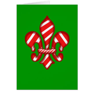 Candy Cane Holiday Fleur de lis Greeting Card