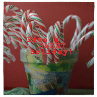 Candy Cane Holiday Greetings Napkin