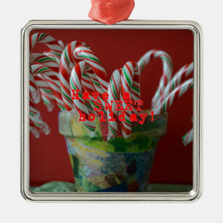 Candy Cane Holiday Greetings Silver-Colored Square Ornament