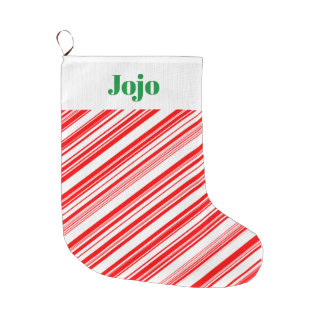 Candy Cane Holiday Xmas 4Jojo (Name) Large Christmas Stocking